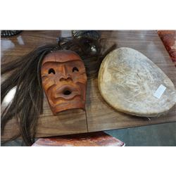 NATIVE MOOSE HIDE DRUM AND NATIVE CARVED MASK W/ REAL HORSE HAIR