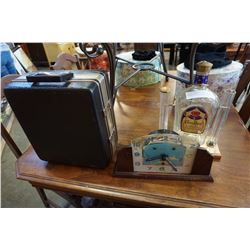 ANTIQUE CLOCK AND CROWN ROYAL BOTTLE DISPLAY AND HARD CASE