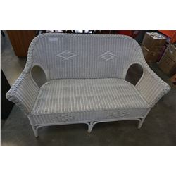 WHITE WICKER BENCH