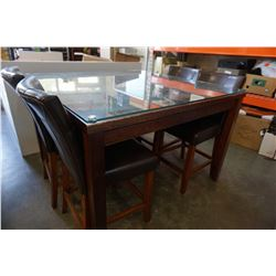 BAR HEIGHT SLATE GLASS TOP DINING TABLE W/ 4 STOOLS