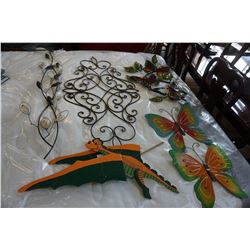 LOT OF DECORATIVE BUTTERFLY METAL ART WOODEN DRAGON ETC