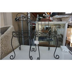 2 SMALL DECORATIVE METAL PLANTER STAND CHAIRS
