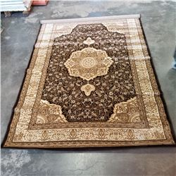 NEW UNIQUE DARK BROWN 5FT 2 INCH X 7 - 1/2 FOOT TURKISH AREA CARPET