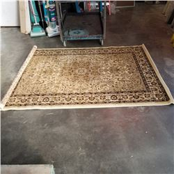 NEW UNIQUE CREAM 5FT 2 INCH X 7 - 1/2 FOOT TURKISH AREA CARPET