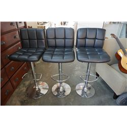 3 MODERN LEATHER BAR STOOLS