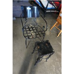 VINTAGE WROUGHT IRON CHAIR AND SIDE TABLE