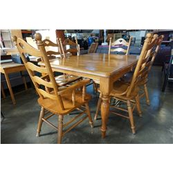 OAK DINING TABLE WITH SIX LADDER BACK CHAIRS