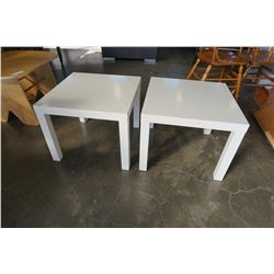 PAIR OF WHITE IKEA END TABLES