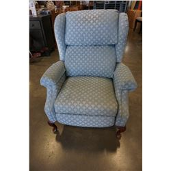 BLUE QUEENANNE WING BACK CHAIR