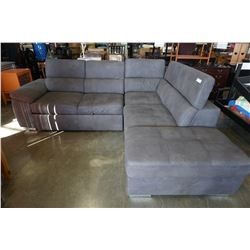 GREY MICROFIBER SECTIONAL WITH PULLOUT SECTION AND OTTOMAN