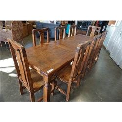 LARGE RUSTIC HARVEST TABLE 8FT BY 32IN AND 8 WOOD CHAIRS