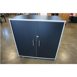 SMALL BLACK AND SILVER LOCKING CABINET W/ KEYS