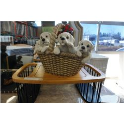TV TRAY AND PUPPY BASKET FIGURE