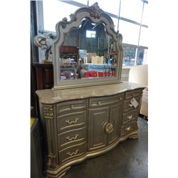 HOME ELEGANCE GREY MODERN STONE TOP DRESSER AND MIRROR, FREIGHT DAMAGE TO STONE, RETAIL $1299