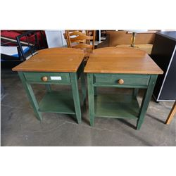 PAIR OF GREEN AND MAPLE END TABLES