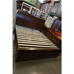 NEW HOME ELEGANCE KINGSIZE MAHOGANY SLEIGH BED FRAME WITH STORAGE DRAWERS, RETAIL $1899
