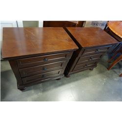 NEW PAIR OF HOME ELEGANCE MAHOGANY 3 DRAWER NIGHSTANDS, RETAIL $349 EACH