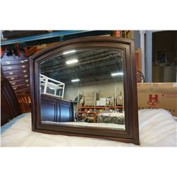 NEW HOME ELEGANCE MAHOGANY BEVELLED WALL MIRROR, RETAIL $149