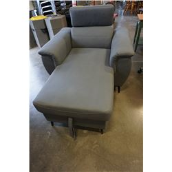 NEW HOME ELEGANCE GREY FABRIC CHAISE LOUNGE WITH STORAGE, RETAIL $1699