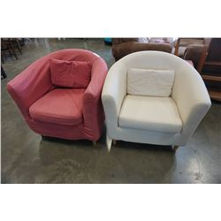 WHITE TUB CHAIR AND RED TUB CHAIR