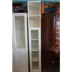 7FT 2  WHITE GLASS DOOR CABINET