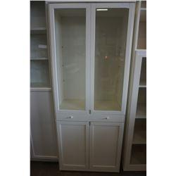 73 INCH WHITE GLASS DOOR CABINET