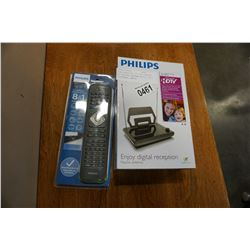 NEW OVERSTOCK PHILIPS PASSIVE HD DIGITAL ANTENNA WITH 8 IN 1 UNIVERSAL REMOTE