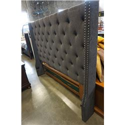 NEW HOME ELEGANCE GREY TUFTED AND STUDDED KINGSIZE HEADBOARD, RETAIL $399