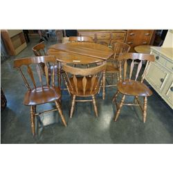 ROUND MAPLE DINING TABLE W/ 6 DINING CHAIRS