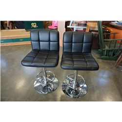 PAIR OF BLACK AND CHROME STOOLS