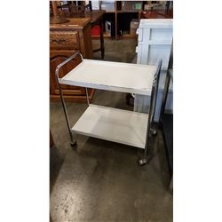 2 TIER WHITE METAL AND CHROME ROLLING SHELF