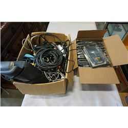 BOX OF ELECTRONIC AND AV CABLES, IPHONE 6 PLUS CASES