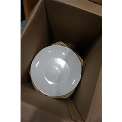 BOX OF WHITE IKEA AND OTHER DINNER PLATES