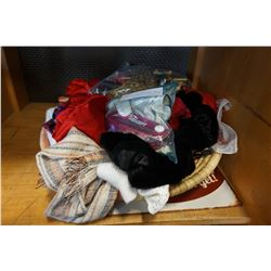 BOX OF VINTAGE SCARVES, COSTUME JEWELLERY, AND MORE