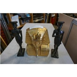KING TUT BUST AND 2 DISCIPLES