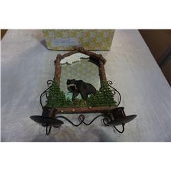 DECORATIVE MIRRORED WALL PLAQUE W/ CANDLE HOLDERS BEAR THEMED