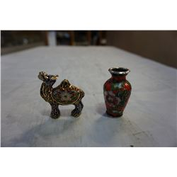 SMALL CLOISONNE VASE AND SMALL CLOISONNE CAMEL FIGURE
