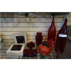 LOT OF RUBY GLASS DECOR