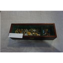 WOODEN TEA BOX W/ COLLECTIBLE PINS