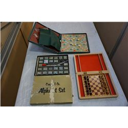 TRAVEL CHESS SET, SCRABBLE GAME, AND STAMP SET