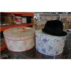 2 HAT BOXES W/ VINTAGE HATS