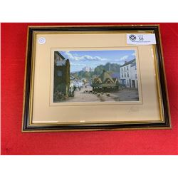 Framed English signed Picture Dunster by Maurice Bishop