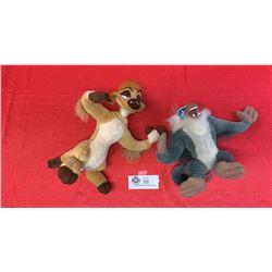 2 Stuffed Lion King Figures. Rafiki and Timone