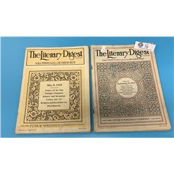 Lot of 2 Vintage The Literary Digest Magazine.