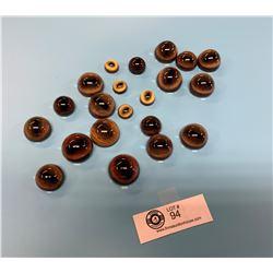 11 Pairs of Quality German Made Taxidermy Glass Eyes. Lynx, Elk, Moose, and Deer