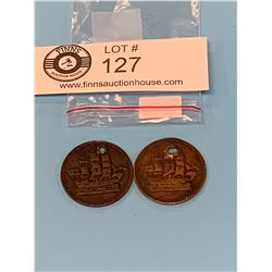 Lot of 2 Ships Colonies and Commerce Token 1835 Half Penny Coin