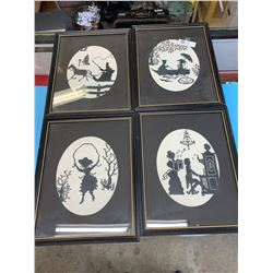 Set if 4 Black and White Vintage Needlepoint Pictures