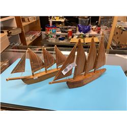 Lot of 2 Vintage Wooden Sailboats.