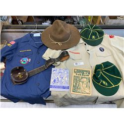 Vintage Boy Scouts Lot. Shirts, Hats, Belts and Leader Books. 1 Shirt is a leader's Shirt