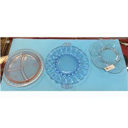 3 Depression Era Glass Serving Plates